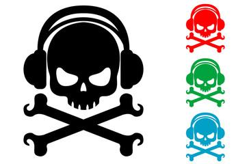 Icono plano auriculares musica pirata varios colores