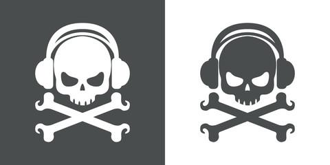 Icono plano auriculares musica pirata gris y blanco