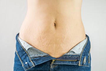 woman with Belly pattern blue jeans