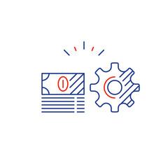 Gear wheel financial plan, money investment strategy idea, line icon