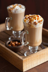 latte with whiped cream and caramel