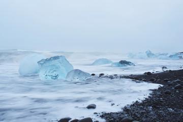 Blue Ice Blocks in Sea