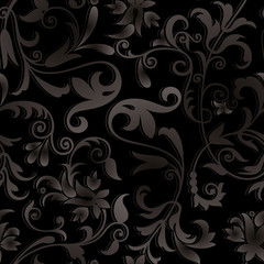 Vector - ornate black background with plant decorations