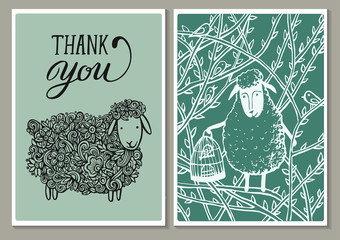 """Vintage cards. Hand lettering words """" thank you"""" And a lovely spring Openwork lamb in flowers and Sweet Sheep With a cage of bird in the branches . Spring holidays vector illustration."""