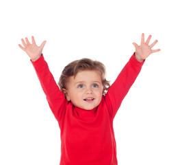 Happy success baby raising his hands