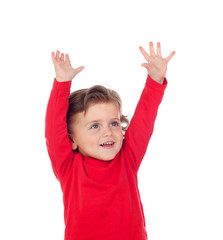 Happy success baby raising his hands