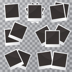 .Modern vector illustration of photo frame set with adhesive tapes. Photo realistic.