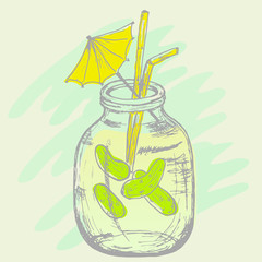 Pickled cucumbers in a bank hand drawn illustration