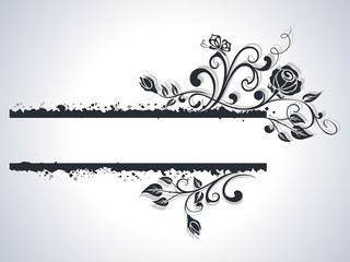 Black and white rose frame vector background.