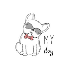 Black and white vector sketch of a dog. Vector Illustration