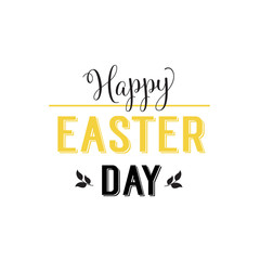 Happy Easter Day Lettering With Leaves