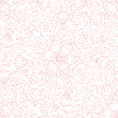 Abstract flower seamless pattern with leaves. Cute floral print.