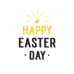 Happy Easter Day Lettering, Shining Bunny