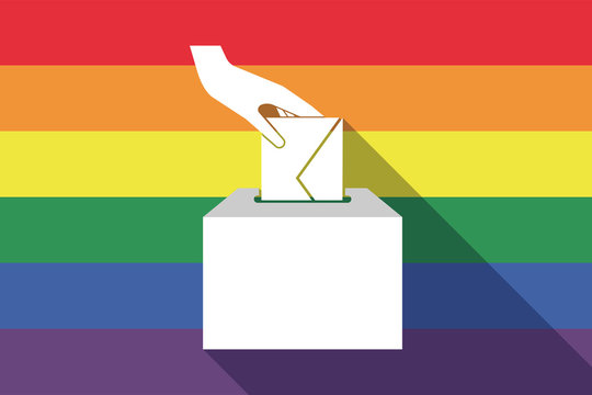 Long shadow gay pride flag with  a hand inserting an envelope in a ballot box