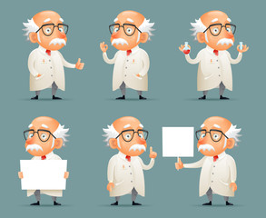 Old Scientist Character Icons Set Retro Cartoon Design Mobile Game Vector Illustration
