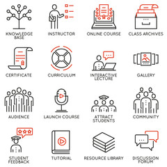 Vector set of 16 icons related to business education, training, career progress and refresher course. Mono line pictograms and infographics design elements