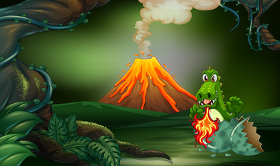 Volcano scene with dragon blowing fire