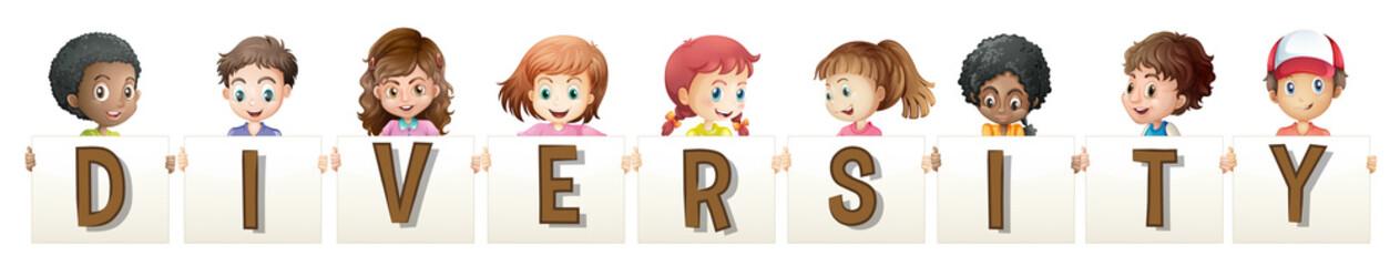 Children holding word for diversity