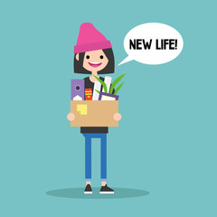 New life conceptual illustration. Young brunette girl holding a box full of office stationery goods / flat editable vector illustration, clip art