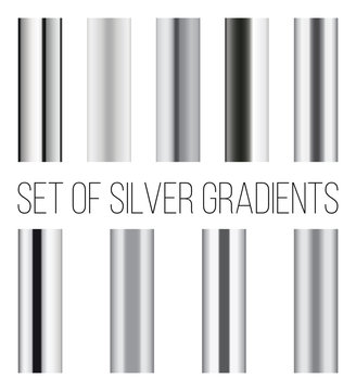 Set of silver gradients. Collection of metal backgrounds.