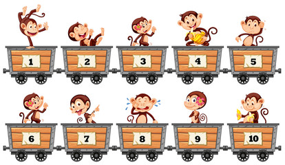 Counting numbers with monkeys in wagons