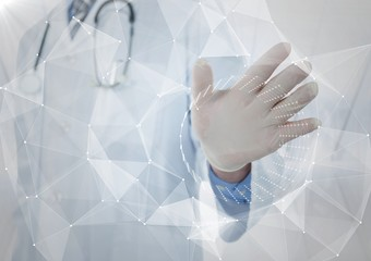 White interface with flare in front of doctor with hand out against blurry window