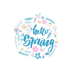 Hello Spring. Decorative floral wreath isolated on white..Greeting background.Vector Illustration