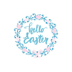 Happy Easter. Decorative floral wreath isolated on white. Greeting background.Vector Illustration