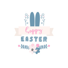 Easter banner with rabbit ears and ribbon. Happy Easter greeting. Greeting background.Vector Illustration