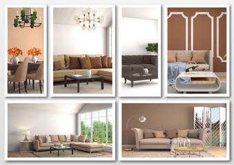 Collage of modern home brown interior. 3d illustration