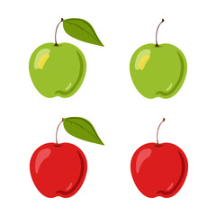 Vector flat illustration of set red and green apples with leaf