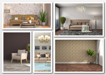 Collage of modern home brown interior. 3d illustration