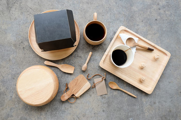 Eating breakfast concept utensils made of wood