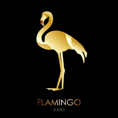 Golden flamingo icon on dark background. Flat design.
