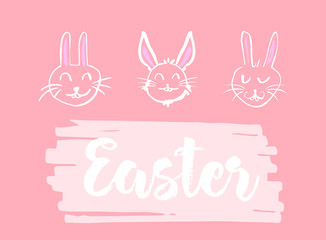 Greeting card with easter bunny drawing