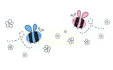 Baby newborn baby boy baby girl symbols with bee