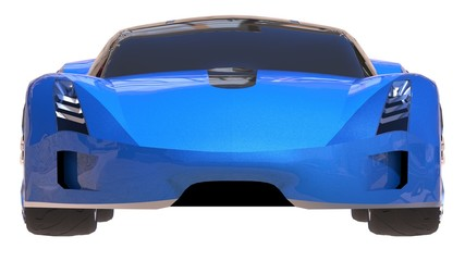 Blue shiny conceptual sports car of the future.