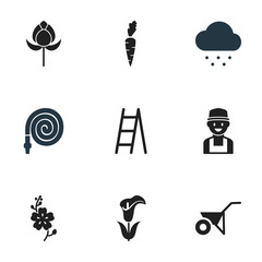 Set Of 9 Editable Garden Icons. Includes Symbols Such As Farmer, Handcart, Lily. Can Be Used For Web, Mobile, UI And Infographic Design.