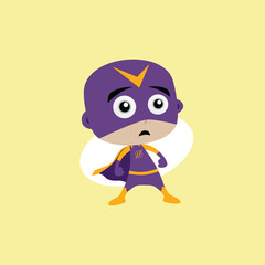 Adorable and amazing cartoon superhero in classic pose