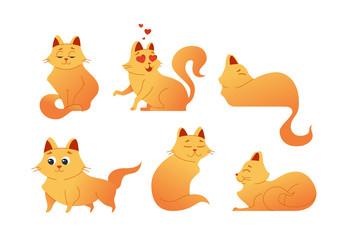 Kitty Cat - modern vector set of flat illustrations.
