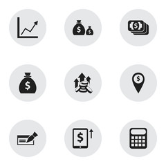 Set Of 9 Editable Financial Icons. Includes Symbols Such As Exchange Center, Treasure, Banknote And More. Can Be Used For Web, Mobile, UI And Infographic Design.