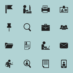 Set Of 16 Editable Company Icons. Includes Symbols Such As Document, Telephone, Dossier And More. Can Be Used For Web, Mobile, UI And Infographic Design.