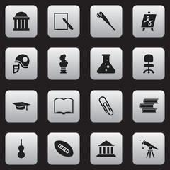 Set Of 16 Editable School Icons. Includes Symbols Such As Museum, Graduation Hat, Binoculars And More. Can Be Used For Web, Mobile, UI And Infographic Design.