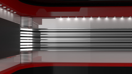 Tv Studio. Backdrop for TV shows .TV on wall. News studio. The perfect backdrop for any green screen or chroma key video or photo production. 3D rendering.
