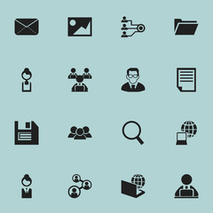 Set Of 16 Editable Office Icons. Includes Symbols Such As Businesswoman, Floppy, Loupe And More. Can Be Used For Web, Mobile, UI And Infographic Design.