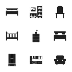 Set Of 9 Editable Furnishings Icons. Includes Symbols Such As Cooking Furnishings, Child Cot, Cabinet And More. Can Be Used For Web, Mobile, UI And Infographic Design.