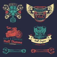 Vector iker club logos set. Motorcycle repair signs. Retro hand sketched garage labels. Custom chopper store emblems.