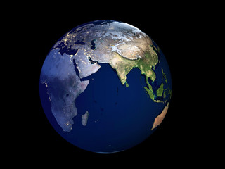 3D Rendering Planet Earth at day to night, globe model isolated on black Elements of this image furnished by NASA