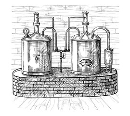 Row of tanks and wooden barrel in brewery beer. Isolated on white background. Vintage vector engraving illustration for web, poster, label, invitation to oktoberfest festival, party.