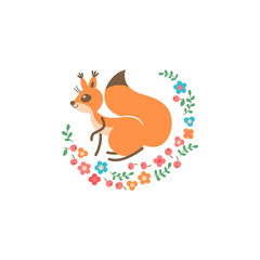 Cartoon cute squirrel. Little funny print. Vector illustration